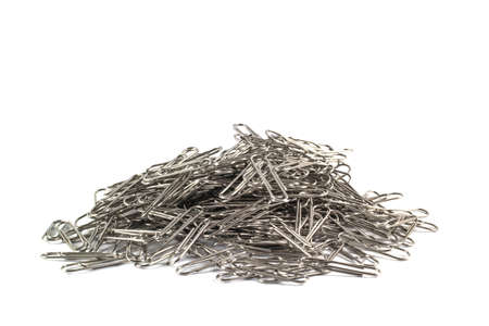 paper clips: Stack Paper Clips on white background.