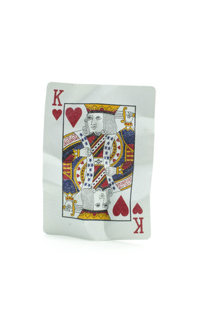 king of hearts: King of Hearts Crumpled Playing Cards on white background