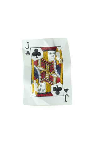 jack of diamonds: Jack of diamonds Crumpled Playing Cards on white background Stock Photo