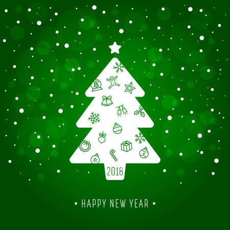 Krásná novoroční karta na jiskřivém pozadí. Ilustrace