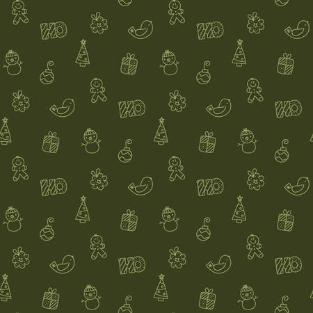 Christmas elements like snowman,  christmas ball,  gift,  gingerbread man in repetitive, borderless pattern illustration.
