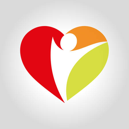 Heart image and profile icon illustration