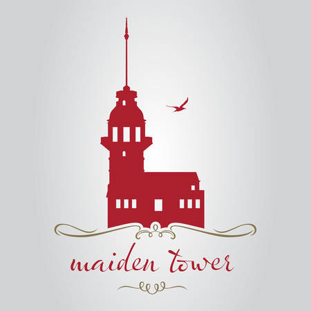 istanbul maiden tower design vector illustration