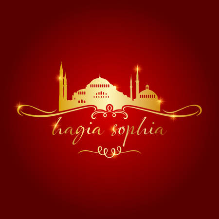 istanbul hagia sophia mosque gold on red background vector illustration Illustration