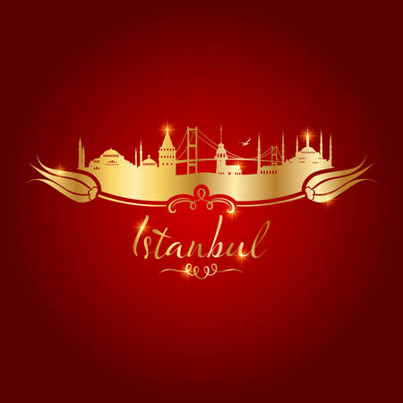 istanbul logo gold on red background vector illustration