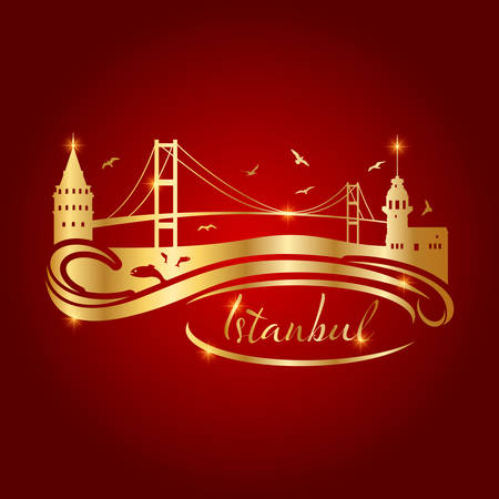 istanbul logo with gold buildings on red background vector illustration