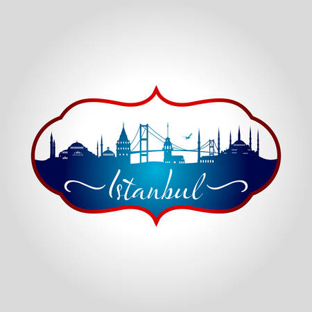 istanbul logo isolated on gray background vector illustration