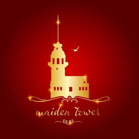 istanbul maiden tower vector illustration