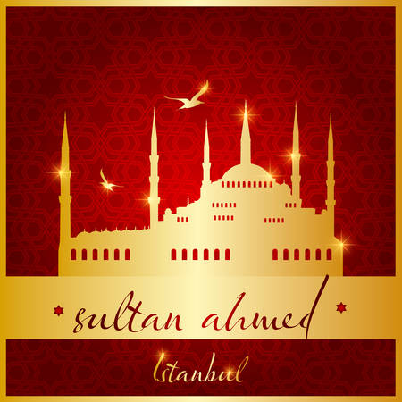 istanbul sultan ahmed mosque vector illustration  イラスト・ベクター素材