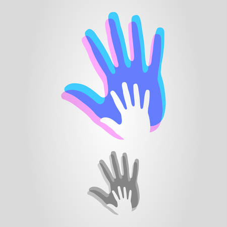 hand logo icon vector illustration on gray background. 矢量图像