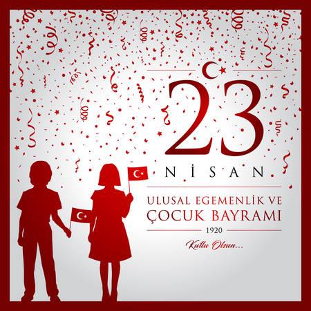 23 avril, Journée de la souveraineté nationale et des enfants. Vecteurs