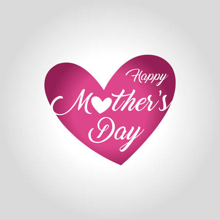 Mothers day greeting card vector illustration with heart design and lettering Happy Mothers day.