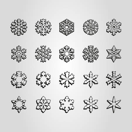 Set of different snowflakes shape, sign and symbol vector illustration.