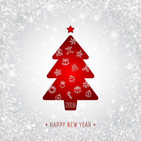 Happy New Year greeting card vector illustration with Christmas tree.