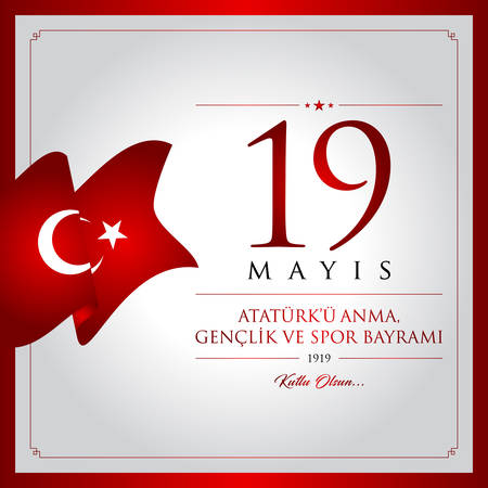 19 of May, Ataturk memorial, youth and sport holiday vector illustration. 19th of May, Commemoration of Ataturk, Youth and Sports day Turkey celebration card. Vectores