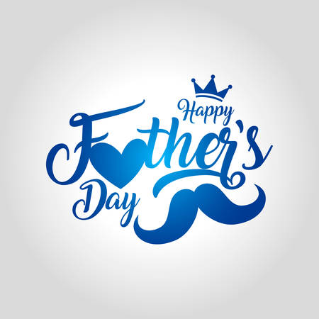 Happy father's day greeting card vector illustration with mustache and crown design