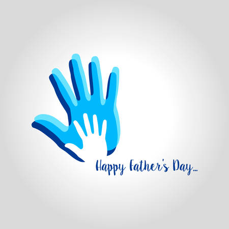 happy fathers day greeting card with hands design. vector illustration