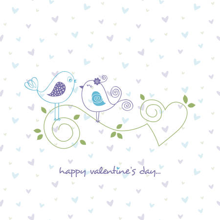 Happy valentines day greeting card vector illustration with lovebirds on minimalistic heart background
