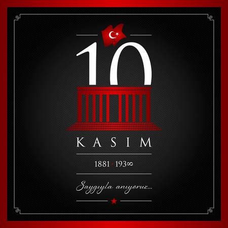 10th century vector illustration of Mustafa Kemal Ataturk Death Day anniversary on black background  イラスト・ベクター素材