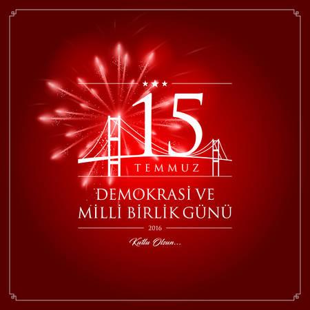 (15 July, Happy Holidays Democracy Republic of Turkey celebration card.