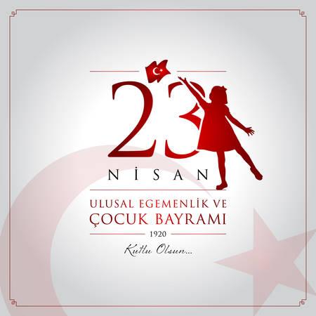 23 avril, carte de célébration de la souveraineté nationale et de la fête des enfants. Vecteurs