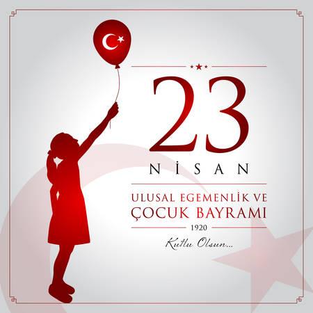 23 avril, carte de célébration de la souveraineté nationale et de la fête des enfants.