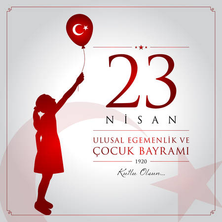 23 April, National Sovereignty and Children's Day celebration card. Illustration