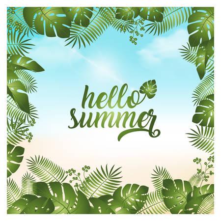 Hola ilustración de vector de fondo de verano