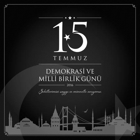 15 July, Happy Holidays Democracy Republic of Turkey celebration card.
