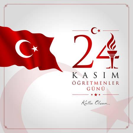 24 November, TURKISH Teachers Day celebration card. Ilustrace