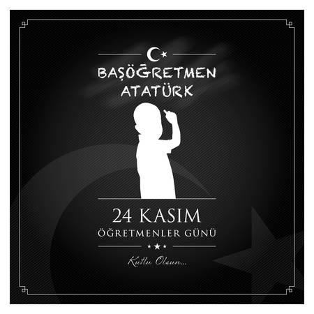 24 November, TURKISH Teachers Day celebration card. Reklamní fotografie - 133198713