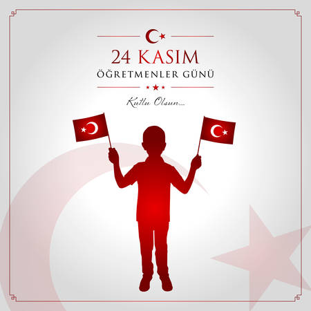 24 November, TURKISH Teachers Day celebration card. Ilustração