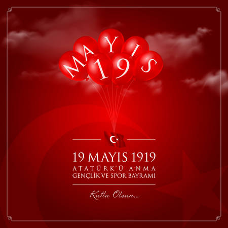 May 19, Turkish Commemoration of Ataturk, Youth and Sports Day. Stock Illustratie