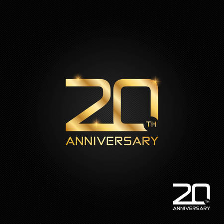 20 years anniversary logo, icon and symbol vector illustration Stock Illustratie