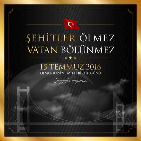 15 July, Happy Holidays Democracy Republic of Turkey celebration card.