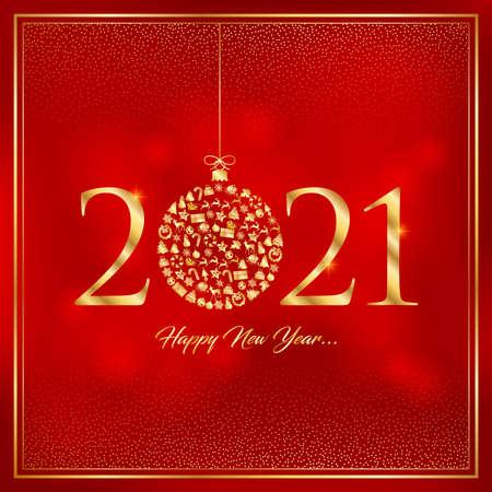 happy new year 2021 greeting card vector illustration Ilustracja