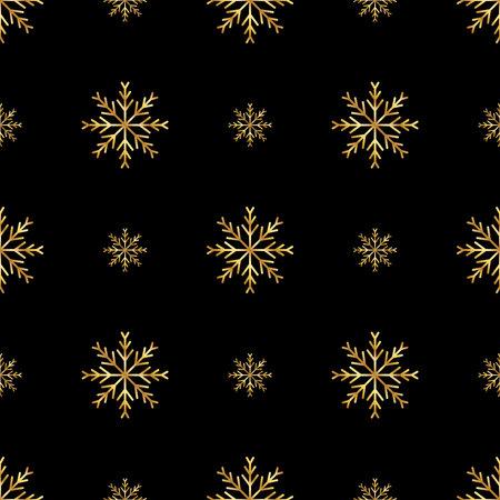 seamless gold snowflakes pattern and background vector illustration Illusztráció