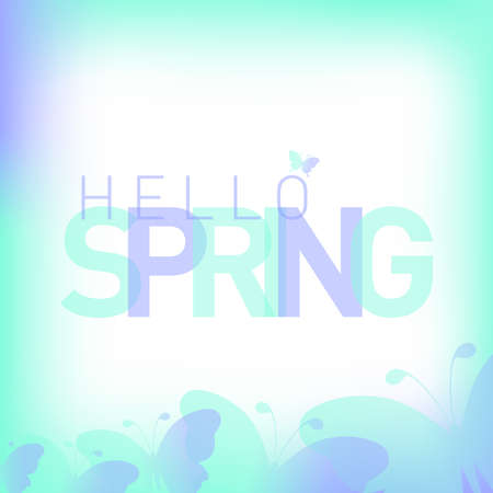 hello spring background with hello spring lettering vector illustration