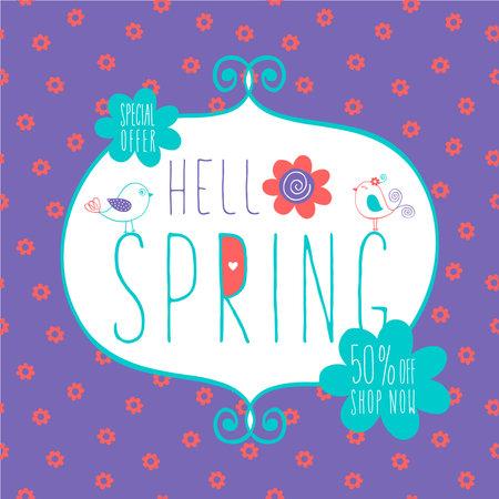 spring sale lettering background vector illustration