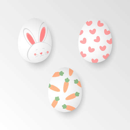 easter eggs collection, cute design of easter eggs vector illustration