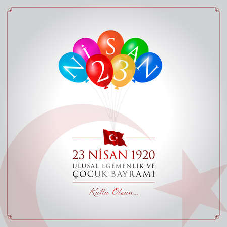 23 april children's holiday vector illustration. (23 April, National Sovereignty and Children's Day Turkey celebration card.)