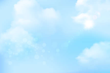 abstract soft blue sky and white clouds blurred gradient background, vector illustration