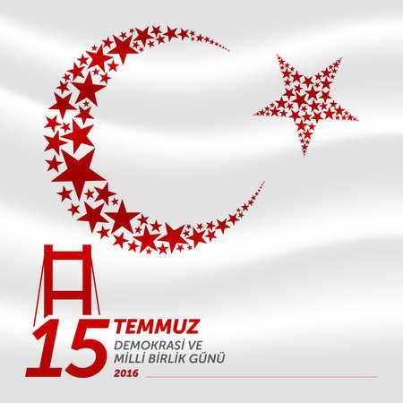 15 july democracy and national unity day vector illustration. (15 July, Happy Holidays Democracy Republic of Turkey celebration card.) Illustration