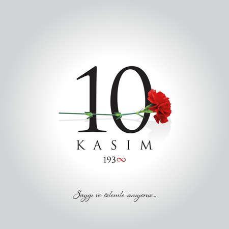 November 10 vector illustration. (10 November, Mustafa Kemal Ataturk Death Day anniversary.)