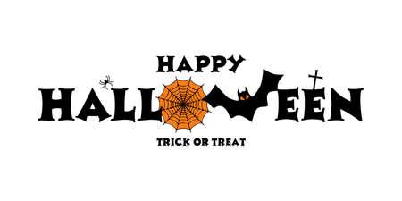 happy halloween background with happy halloween lettering vector illustration