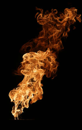 saturated color: Fire and flames isolated on black. Stock Photo