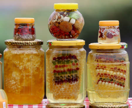 wax sell: Honey with nuts and fruits.