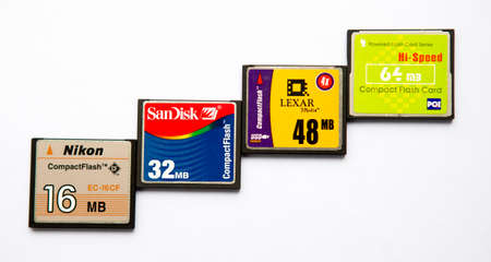 Sofia, Bulgaria - July 22, 2014: Multiple Compact flash memory cards on white background. Editorial