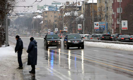 cordoned: Sofia, Bulgaria - February 5, 2012: Government cars are traveling cordoned off part of the road with special regime of movement.