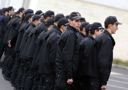 Sofia, Bulgaria - November 8, 2014: Young policemen are standing in formation during a celebration of the Bulgarian Police Day. Editorial